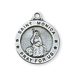 Sterling Silver St. Monica Medal with 18 inch chain