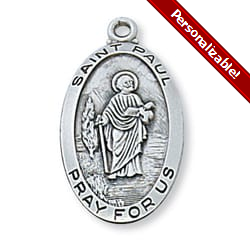 Sterling Silver St. Paul Medal with 24 inch chain