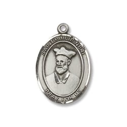 Sterling Silver St. Philip Neri Engraved Pendant w/ Chain