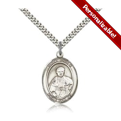 Sterling Silver St. Pius X Pendant w/ chain
