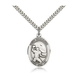 Sterling Silver St. Sebastian / Football Pendant w/ chain