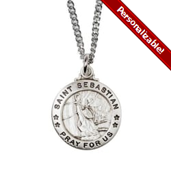 Sterling Silver St. Sebastian Medal with 20 inch chain