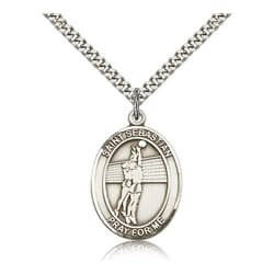 Sterling Silver St. Sebastian / Volleyball Pendant w/ chain