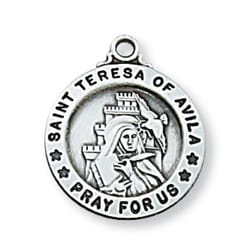 Sterling Silver St. Teresa Medal with 18 inch chain