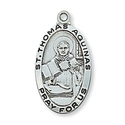 Sterling Silver St. Thomas Aquinas Medal with 24 inch chain