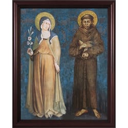 Sts. Francis and Clare on Canvas w/ Cherry Frame