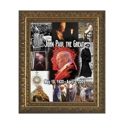 Upon This Rock Collage (Pope John Paul II) w/ Gold Frame (16x20)