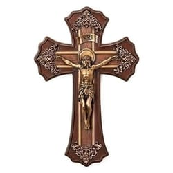 Victorian Crucifix, Wood Look w/ Antique Gold