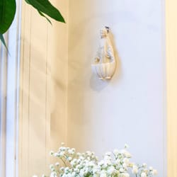 Virgin Mary Holy Water Font, Antique White