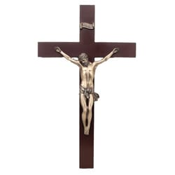 Wood Crucifix, Handpainted Bronzed Corpus, 14 inch