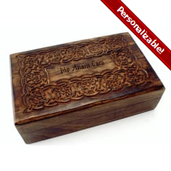 Wood Keepsake Box w/ Celtic Design, 8 by 5 inches