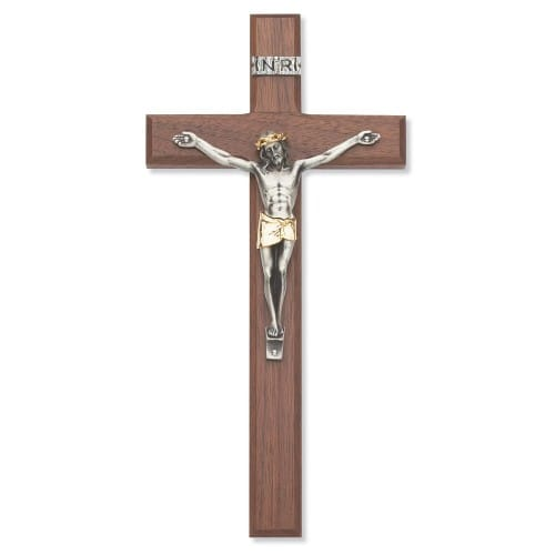 Walnut Crucifix with Two-Tone Corpus - 10 inches