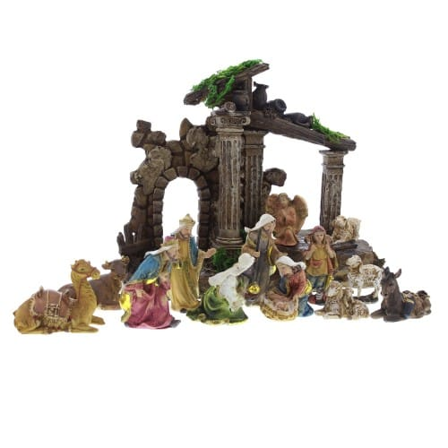 13pc Nativity w/Creche and Columns - 7 inch