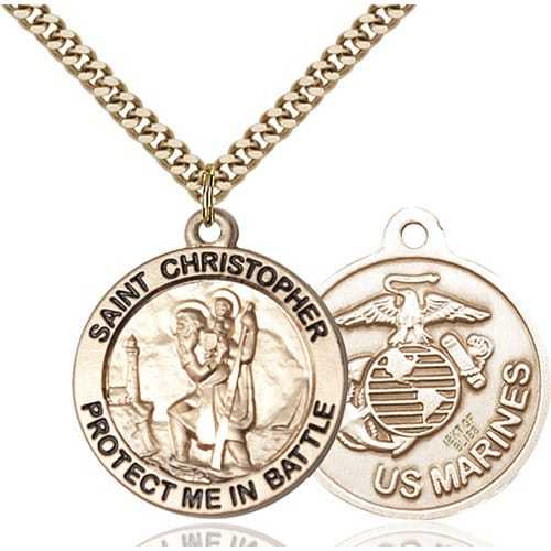 14kt Gold Filled St Christopher Pendant Marines The