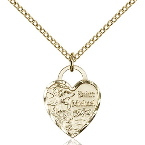 14kt Gold Filled St. Michael Heart Pendant
