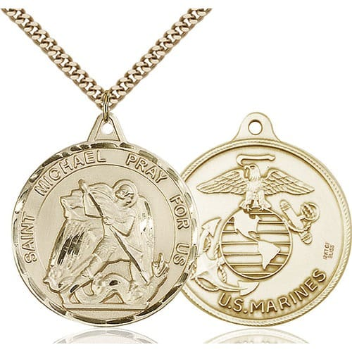 14kt gold filled st michael pendant marines the catholic company 14kt gold filled st michael pendant marines mozeypictures Image collections