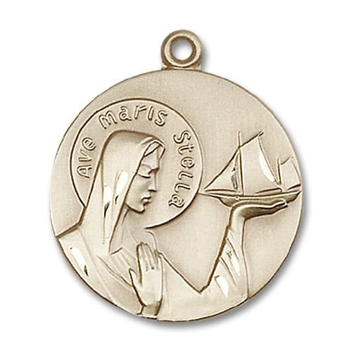 14kt Gold Our Lady Star of the Sea Medal