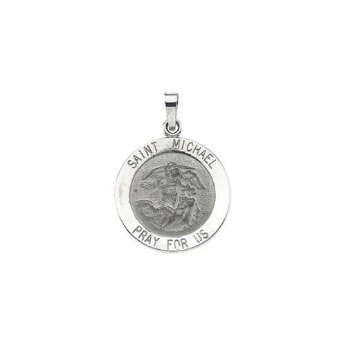 14kt white gold 18mm stmichael medal the catholic company 14kt white gold 18mm stmichael medal aloadofball Choice Image