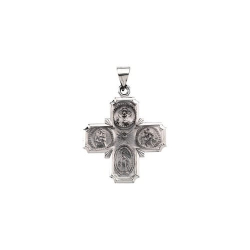 14kt White Gold 25x24.25mm Hollow Four-Way Cross Medal