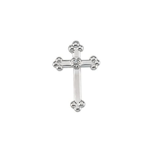 14Kt White Cross Lapel Pin w/ Diamond 14X09