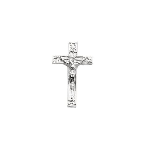 14Kt White Crucifix Lapel Pin 20X12