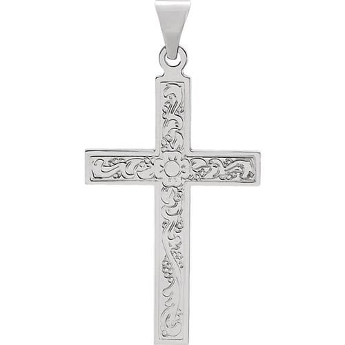 14kt White Design Cross Pendant