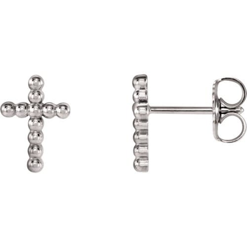 14kt White Gold Cross Beaded Earrings 9.45 X 6.85