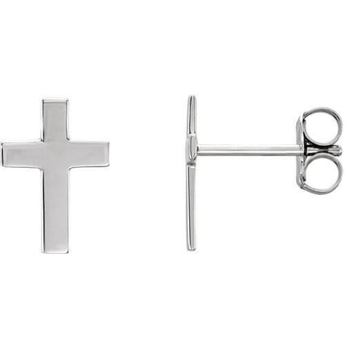 14kt White Gold Cross Earrings 7 X 5