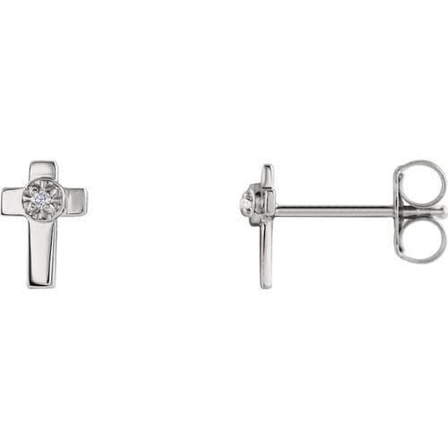 14kt White Gold Diamond Cross Earring