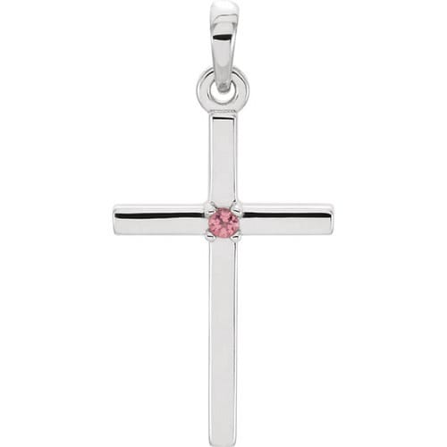 14kt White Gold  Pink Tourmaline Cross 22.65x11.4mm Pendant