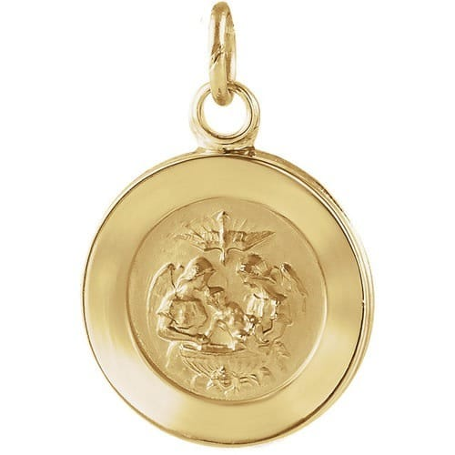 14kt Yellow Gold 11.5mm Round Baptismal Pendant Medal