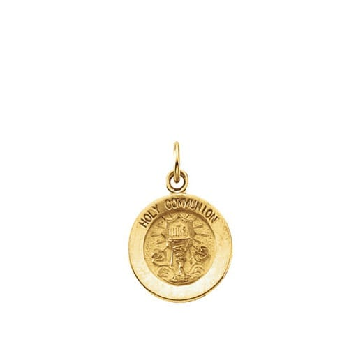 14kt Yellow Gold 11.5mm Round Holy Communion Medal