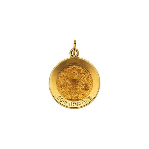 14kt Yellow 15mm Round Confirmation Pendant Medal