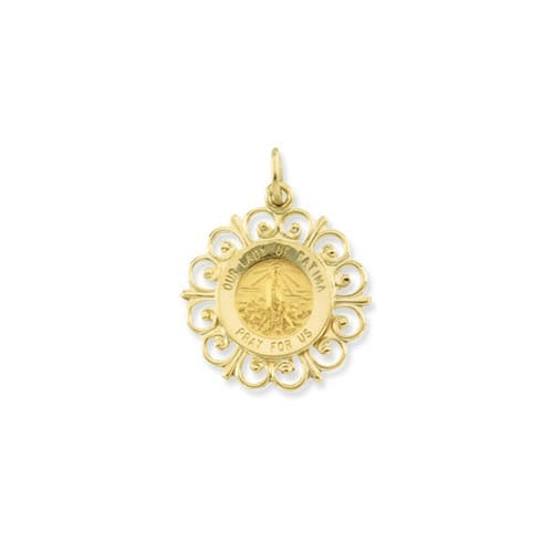 14kt Yellow 18.5mm Our Lady of Fatima Medal
