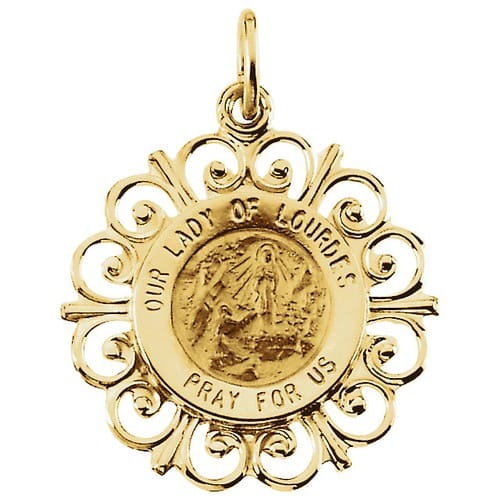 14kt Yellow 18.5mm Round Our Lady of Lourdes Medal