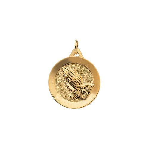 14kt Yellow 19mm Round Praying Hands Pendant