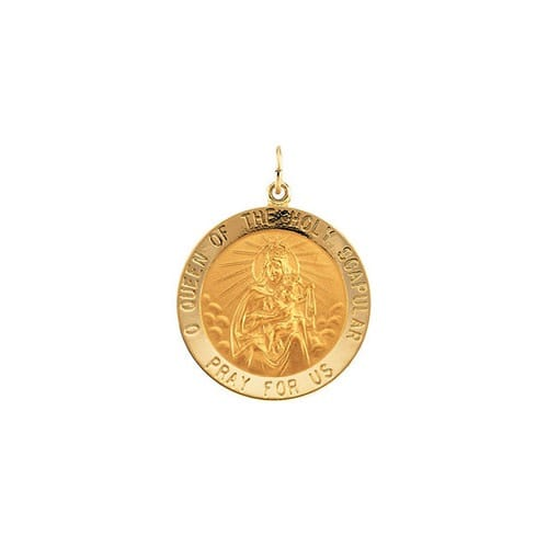 14kt Yellow 25mm Round Scapular Medal