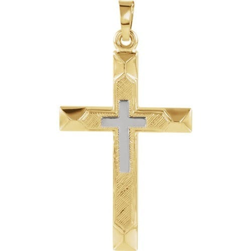 14kt Yellow 29x19mm Hollow Cross Pendant