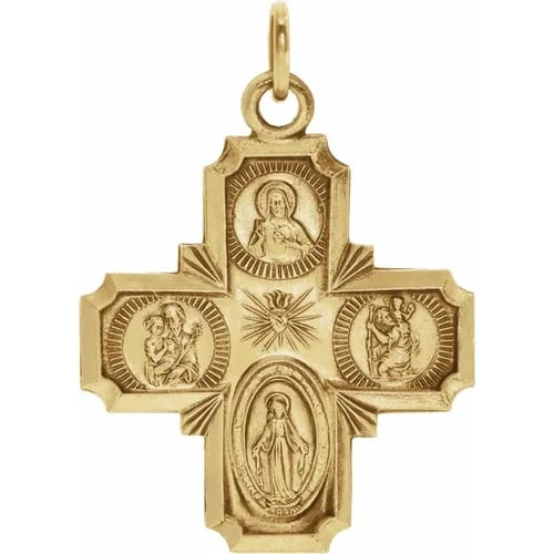 14kt Yellow Gold 8x8mm Four-Way Cross Medal