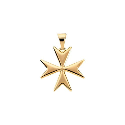14kt Yellow Maltese Cross Pendant with Packaging