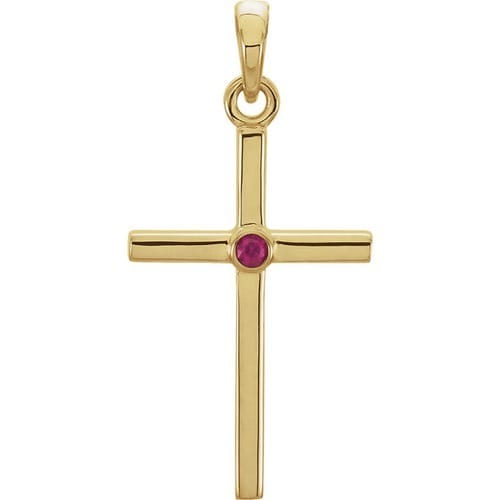 14kt Yellow Gold  Ruby Cross 22.75x11.3mm Pendant