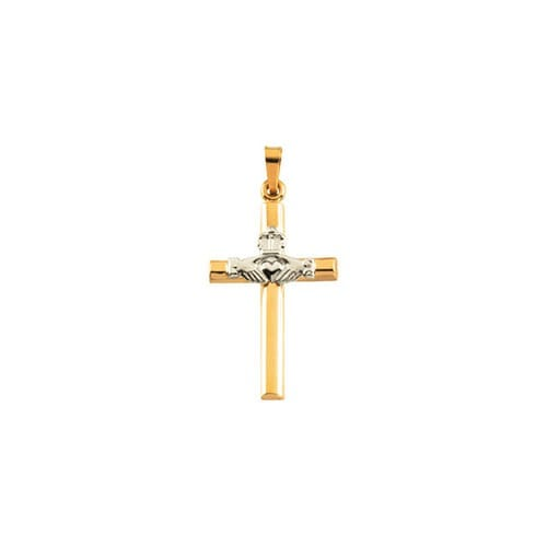14kt Yellow & White 25x16mm Hollow Claddagh Cross Pendant