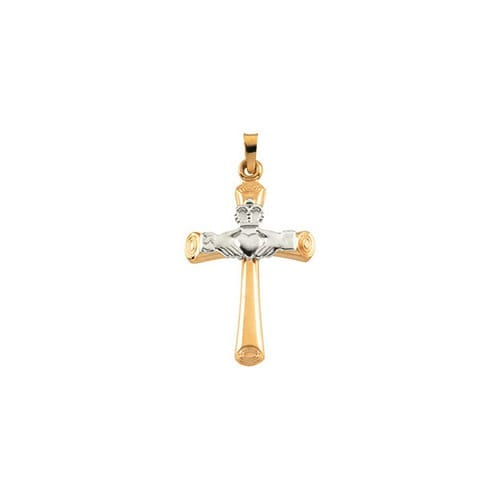 14kt Yellow/White Hollow Claddagh Cross Pendant