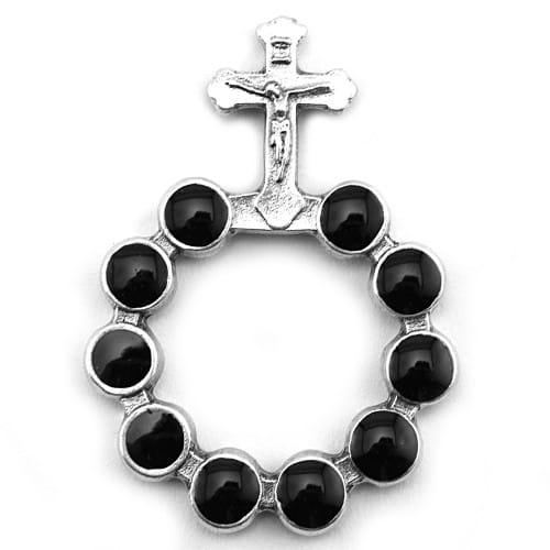 One Decade Finger Rosary - Black Enamel