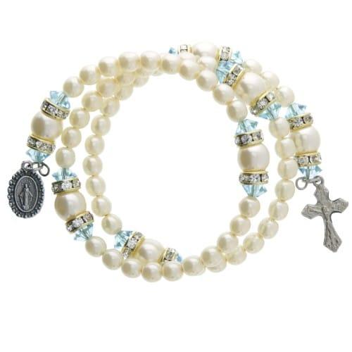 Pearl Aquamarine Rosary Wrap Bracelet