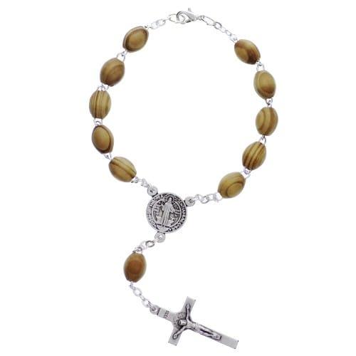 St. Benedict Wood Auto Rosary