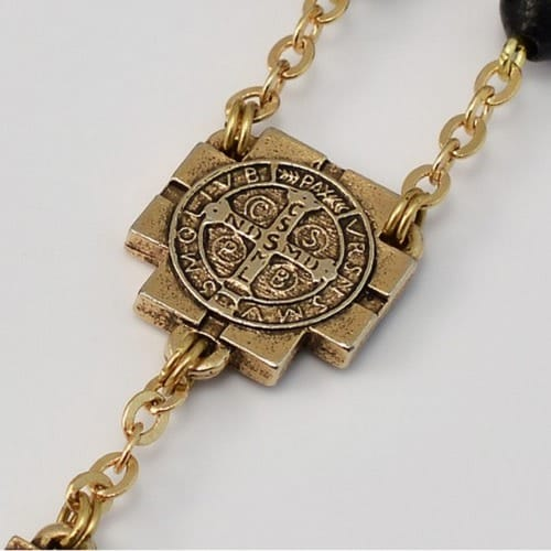 St. Benedict Gold Plated Rosary