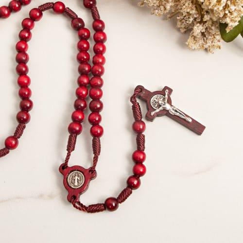 St. Benedict Mahogany Red Wood Bead Rosary