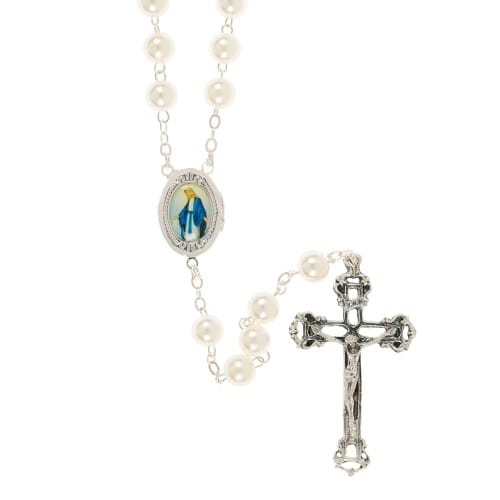 Our Lady of Grace Pearl Locket Rosary