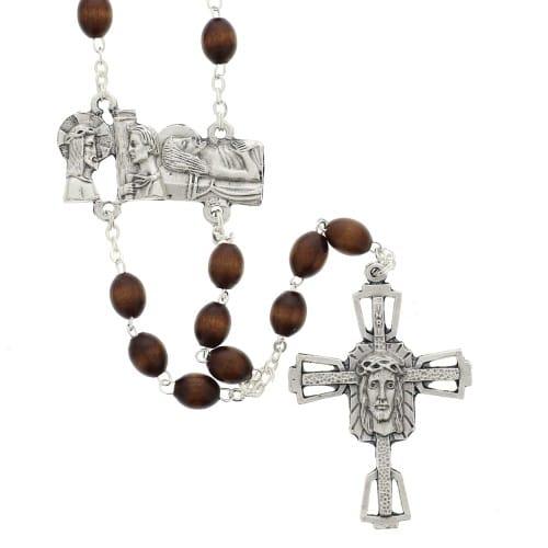 Wood Bead Way of the Cross Rosary